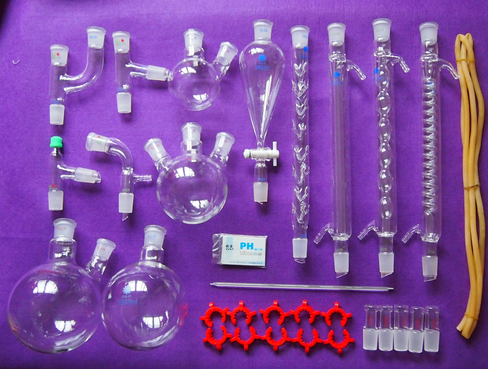Novo kit de Vidro para Laboratório de Química, Laboratório Vidraria Conjunto Com 24/29 Articulações