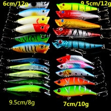 New Set Mixed 21pcs/Lot Fishging Lures Minnow/VIB Lure and Popper Bait Artificial Make Quality Profe