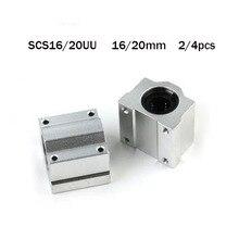 Sc16uu sc20uu 2/4 peças cnc rolamentos de esferas de movimento linear peças slide block bucha para 16/20mm trilho de guia do eixo linear peças cnc