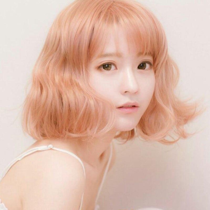 Harajuku Korean Women Fashion Style 30cm Short Curly Yurisa Cosplay Wigs for Female Fake Hair Air Bang Synthetic Hair Pink Gold