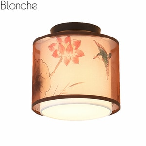 Chinese Traditional Style Ceiling Lights Led Ceiling Lamp Linen Fabric Lampshade Living Room Bedroom Home Lighting Aisle Decor