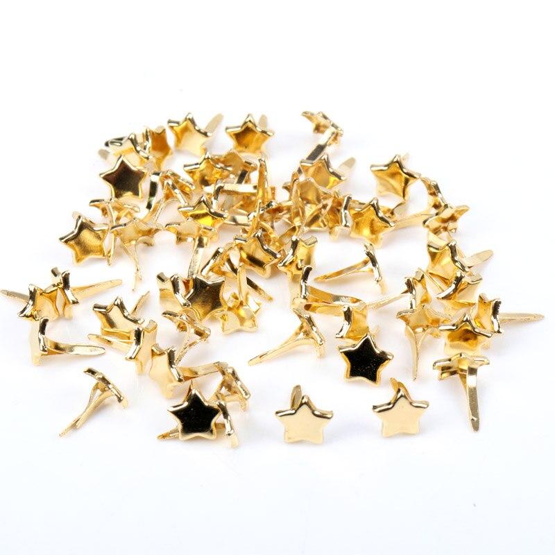Золотые Звездные брады застежки украшения Шипы для одежды металлические брады поделки 8 мм 40 шт