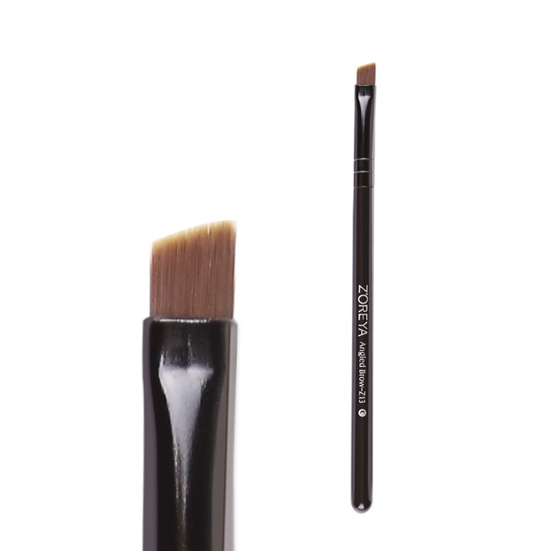 Bevel Angled Nylon Eyebrow Brush Black Wooden Handle Eyebrow Powder Applicator Makeup Brushes Tool aluminum tube nylon bevel blush brush