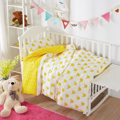 Juego de cama con relleno Crown Kids para decoración dormitorio infantil, cama de algodón para bebé, edredón/sábana/almohada