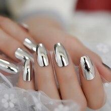 Bright Silver Artificial Mirror Nails Set Coffin Shaped Nail Metallic Chrome Acrylic Nail Kit with Adhesive Tabs