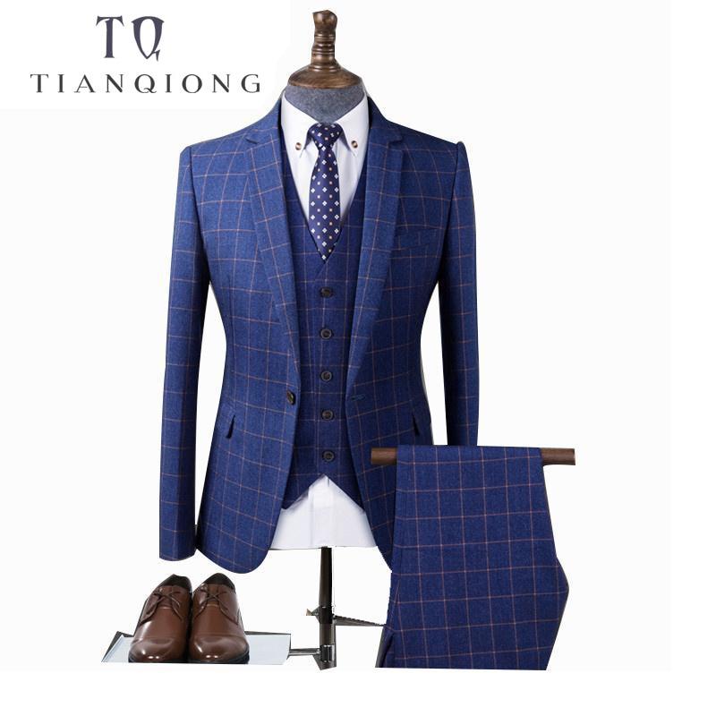 Мужской костюм-смокинг TIAN QIONG, синий клетчатый костюм для свадьбы, деловой костюм-смокинг, мужской облегающий бордовый костюм жениха, 3 шт.