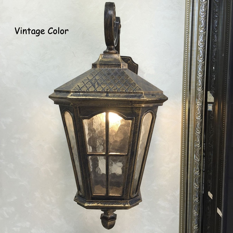 Rustic Iron Waterproof Outdoor Wall Lamp Vintage Kerosene Lantern Light Rusty Matte black Corridor Hallway Wall light enlarge