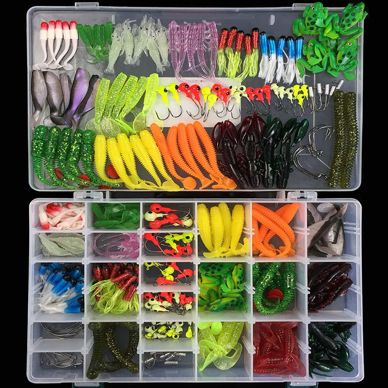 1Set Soft Fishing Lures Mixed Soft Baits Earthworm Maggot Frog Fishing Lure Lead jig head Hooks Kit Set Storage Box Pesca 316Pcs
