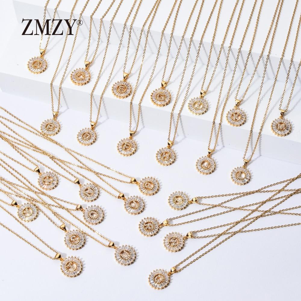 ZMZY 26pcs/lots Wholesale Lots Bulk Mixed A-Z Letter Necklace Stainless Steel Chain Necklace CZ Crystal Gold Color Pendant