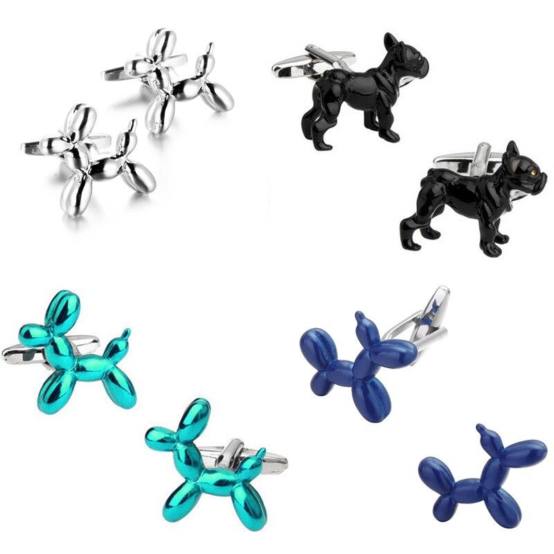 Gemelos hombre franceses de alta latón de calidad chapado en rodio con cuatro modelos de perro divertido