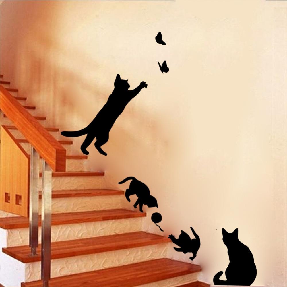 Pegatinas de vinilo para pared de gatos y escaleras, decoración del hogar, decoración para la sala de estar, decoración de pared para niños, Autocollant Mural DIY