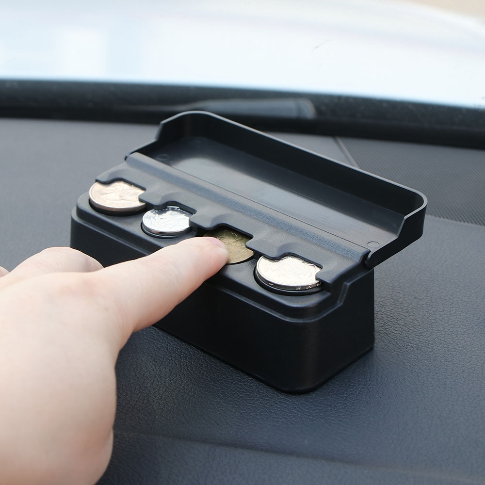 Caja organizadora de accesorios para Interior de coche, contenedor de plástico, caja de almacenamiento de monedas, bolsillo, telescópica, Compatible con monedas para tablero