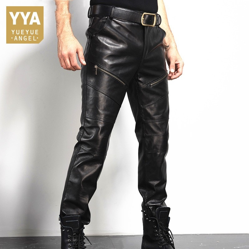 Winter Mens Real Sheepskin Genuine Leather Pants Zip Moto Biker Slim Fit Long Trousers Man Straight Warm Fleece Lining Pants 36
