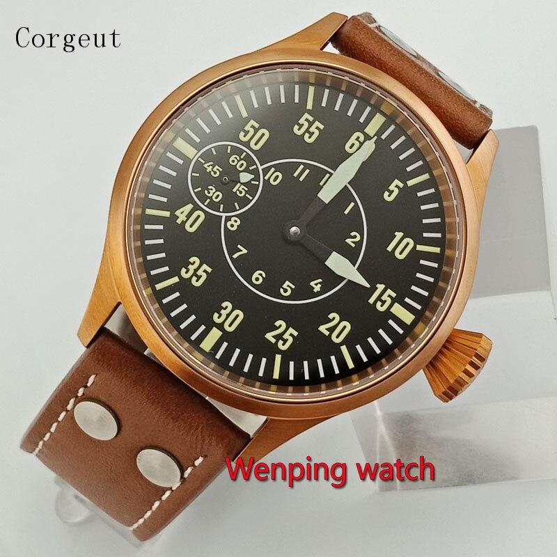 Corgeut-ساعة رجالية مطلية بالكريستال والبرونز ، 43 مللي متر ، صناعة صينية ، W2634 ، 6497