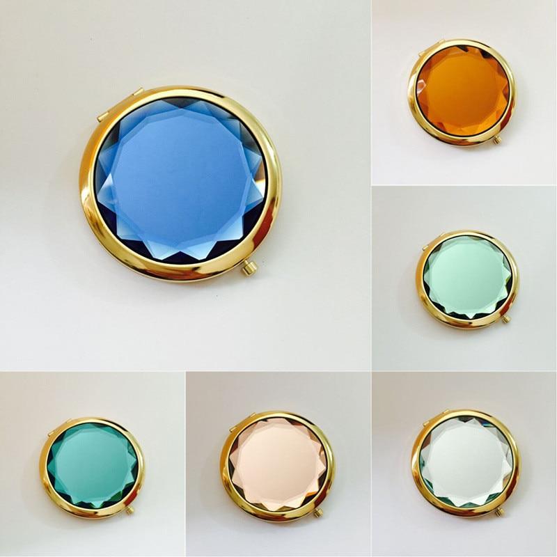 1Pc Luxus Kristall Make-Up Spiegel Tragbare Runde Gefaltet Kompakte Spiegel Gold Silber Tasche Spiegel, Der Up für Personalisierte Geschenk
