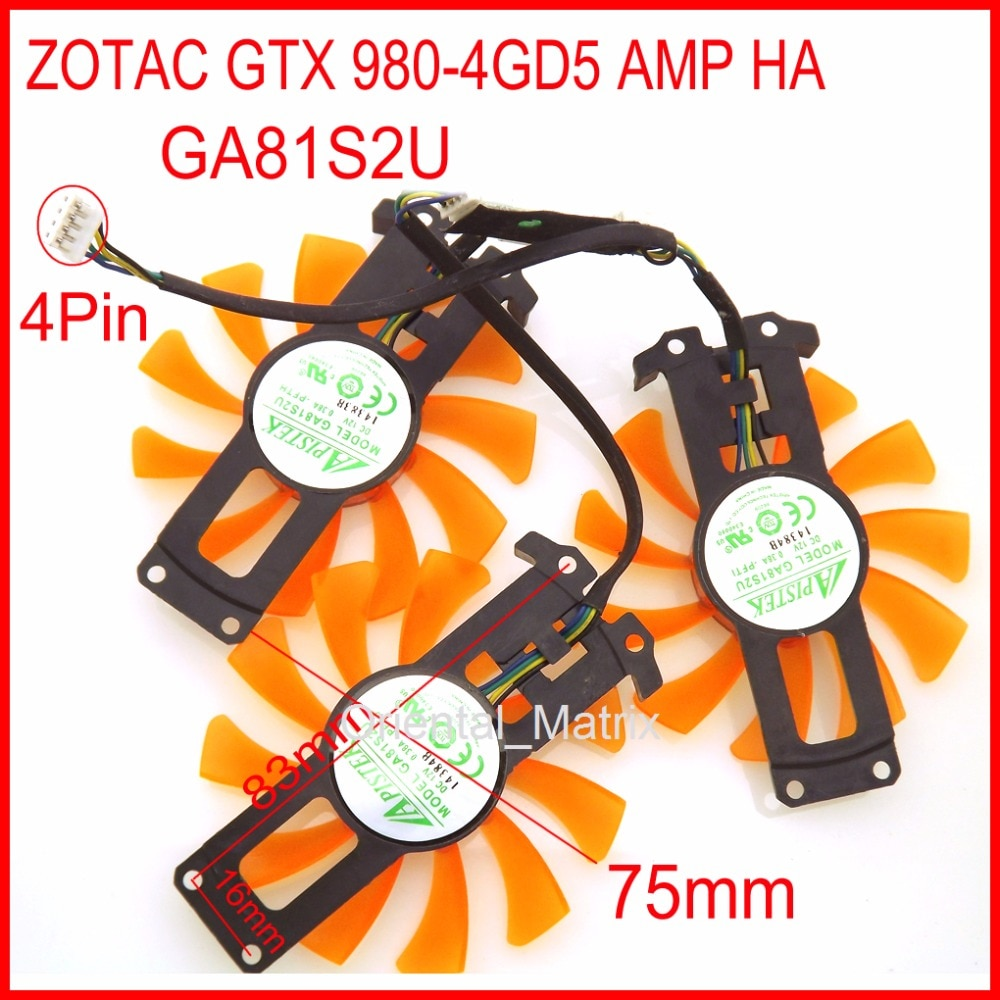 free shipping t128010sm 75mm dc12v 0 20a 40 40 40mm for gigabyte graphics card cooler cooling fan Free Shipping 3pcs/Lot GA81S2U 12V 0.38A 40*40*40mm 4Pin For ZOTAC GTX 980-4GD5 AMP HA Graphics Card Cooler Cooling Fan