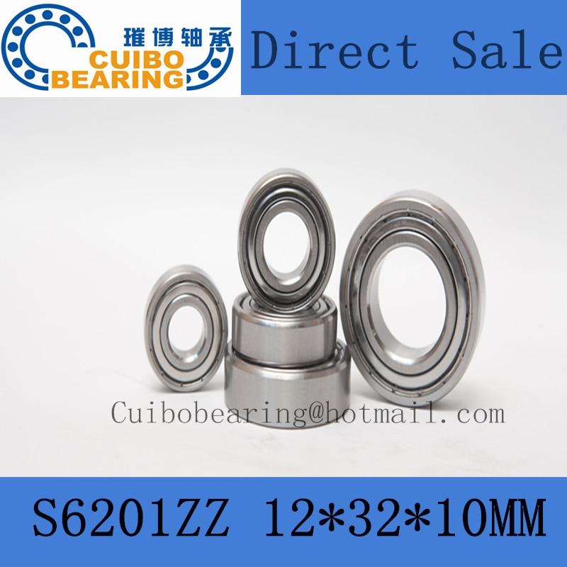 Free Shipping 10 PCS S6201ZZ Stainless Steel Bearing 12x32x10 Miniature 6201ZZ SS Ball Bearings S6201Z