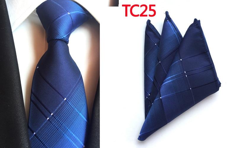 Corbata 8cm moda azul conjunto de pañuelo y corbata 2400 puntadas alta calidad corbatas con bolsillo cuadrado