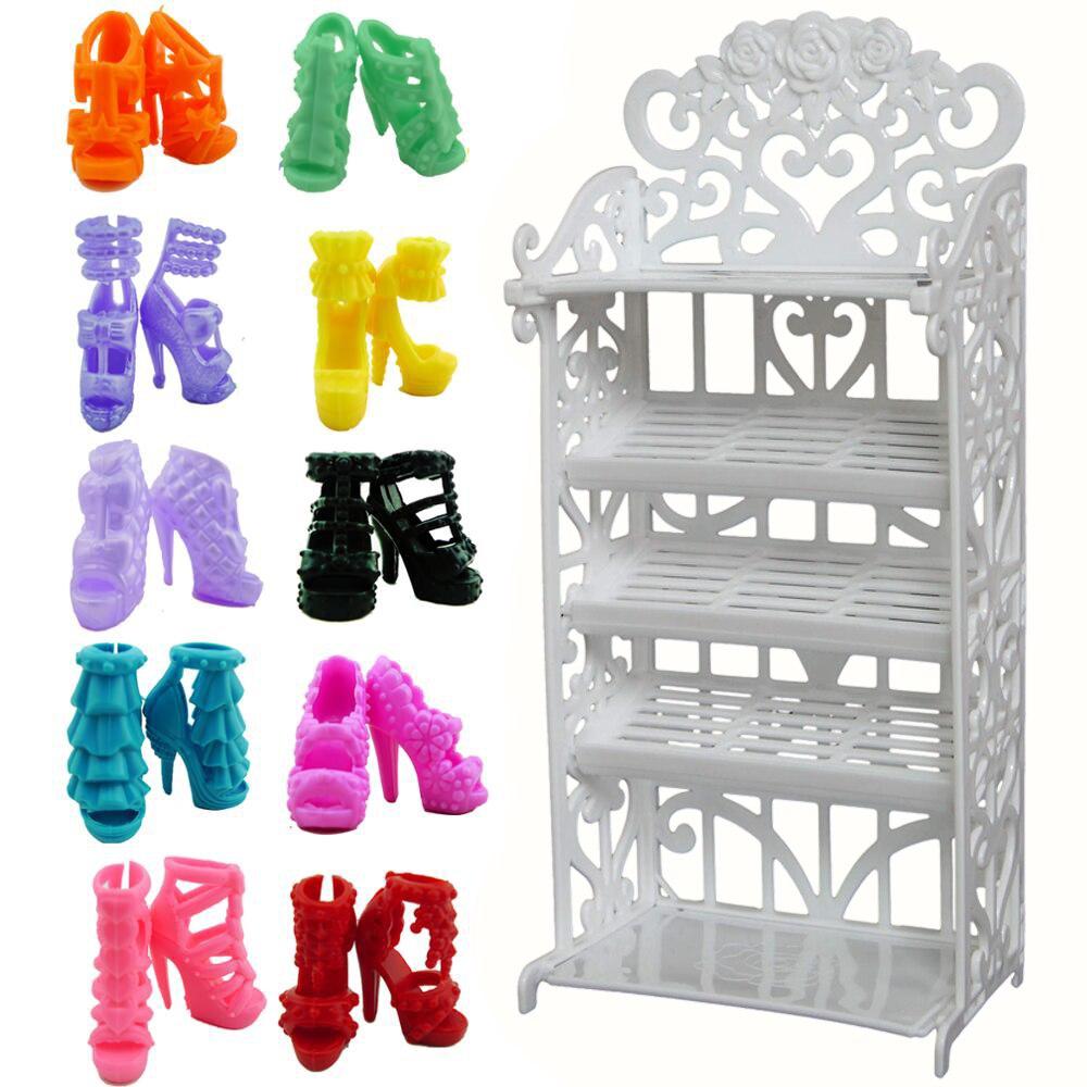 Аксессуары для кукол Mix, варианты обуви/шкаф для обуви, белая стойка для хранения, платья для дивана, кукольный домик, мебель для кукол Барби