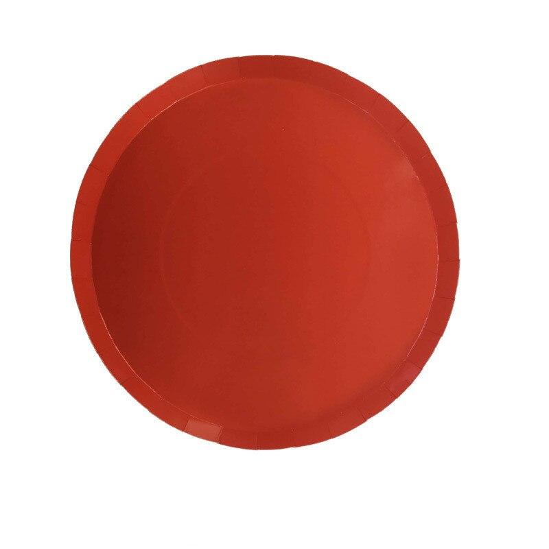 Platos rojos de Coral de 9 pulgadas, decoraciones, suministros para fiestas, vajilla desechable, fiestas de cumpleaños, banquetes para hornear