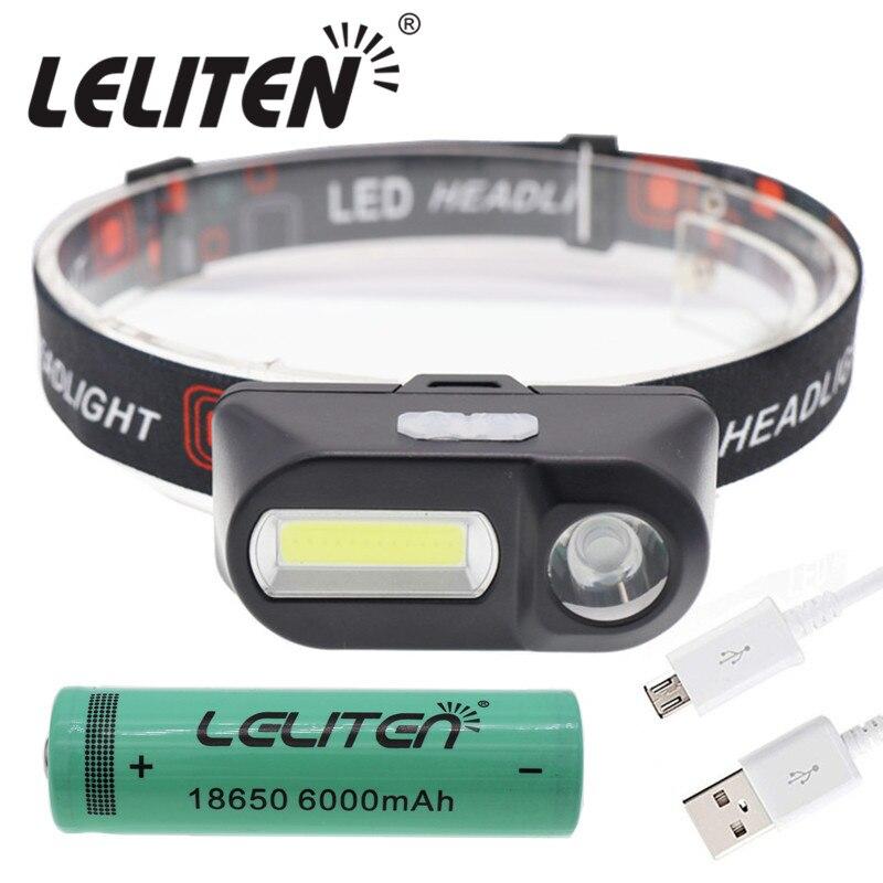 Mini linterna frontal LED XPE + COB, recargable por USB, linterna frontal de Camping, linterna frontal de pesca, linterna frontal