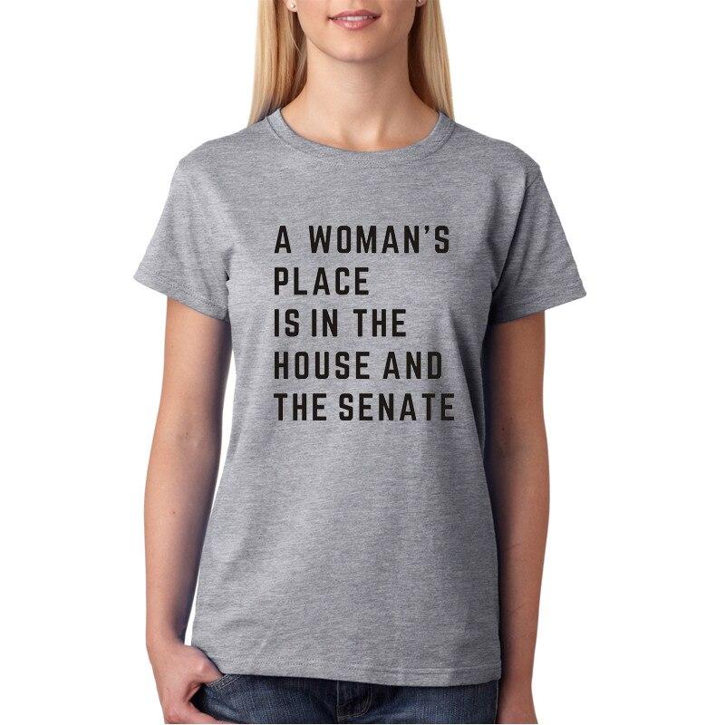 WT0009 verano estilo mujeres t-shirta mujer lugar de la mujer está en la casa y Senate Unisex Tee Tops sueltos camiseta de camisa de moda