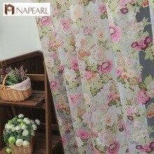 NAPEARL-rideau en tulle lavable motif Floral   Magnifique panneau pur, fenêtre de style campagnard américain pour balcon ou cuisine