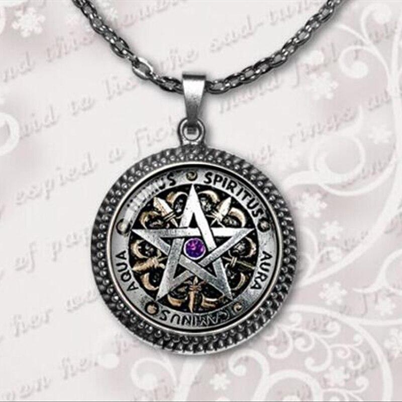 Wiccan ожерелье Черная magick Pagan пентаграмма ювелирные изделия стеклянный купол ожерелье оптовая продажа 2017 A-010 HZ1