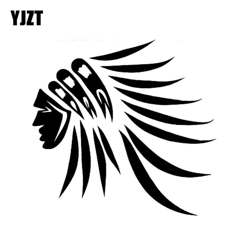 YJZT, 12x11,5 CM, de moda, pluma India para la cabeza, pegatina de vinilo para Estilismo de coche negro/coche plateado, S8-1543
