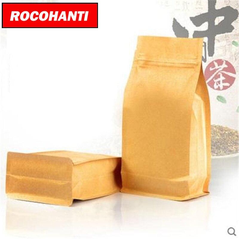 100x Individuelles Logo Recycelt Braun Papier Tasche Für Lebensmittel, 3 Seite Versiegelt Handwerk Papier Beutel Für Tee Pack