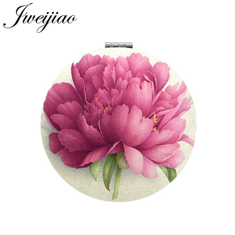 JWEIJIAO flores foto impresión PU cuero maquillaje espejos Mini redondo plegable compacto espejo de bolsillo 1X/2X lupa tocador espejo