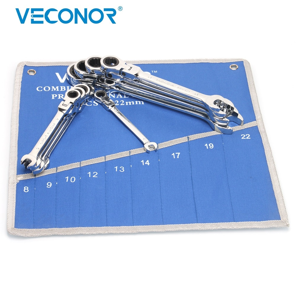 Juego de Llave de trinquete de cabeza Flexible de 8-22mm, llave inglesa, Kit de herramientas multiherramientas con bolsa de almacenamiento llena de esmalte de 72T