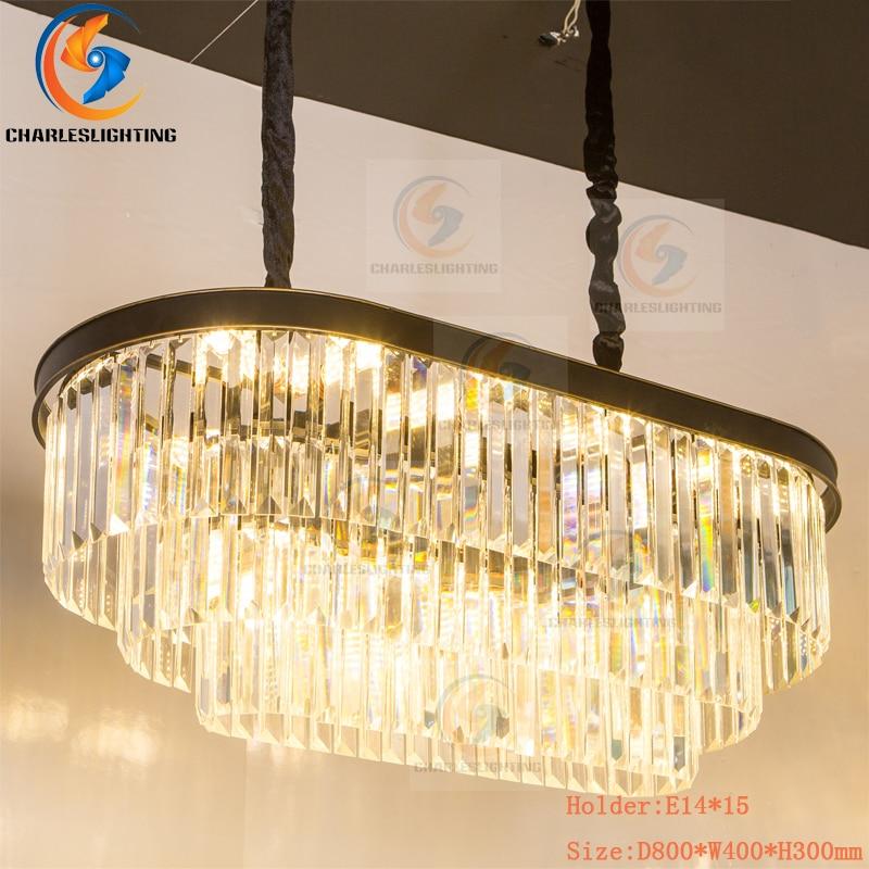 Charles lumières poste moderne luxe or pendentif Led lumière K9 cristal pendentif lampe Led Luminarias suspension lampe Foyer suspendre