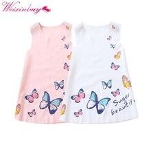 2-7y crianças meninas vestido sem mangas verão meninas de seda gelo roupas bebê menina borboleta vestidos de princesa