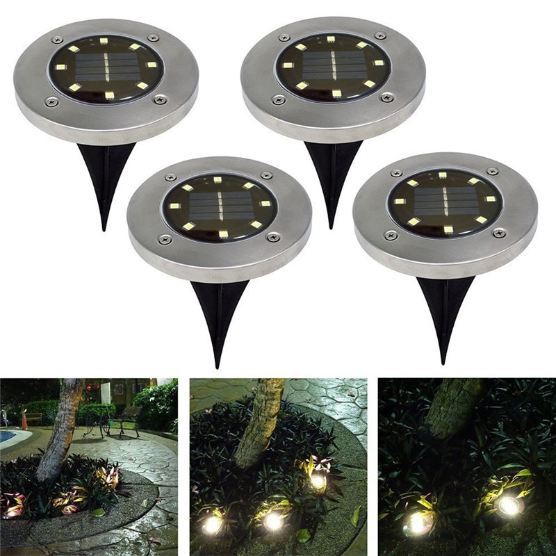 6 pcs solar led pathway driveway light dock path step road safety marker white blue red light Solar Powered Ground Light Waterproof Outdoor Garden Pathway LED Lighting With 8LEDs Solar Lamp for Home Yard Driveway Lawn Road