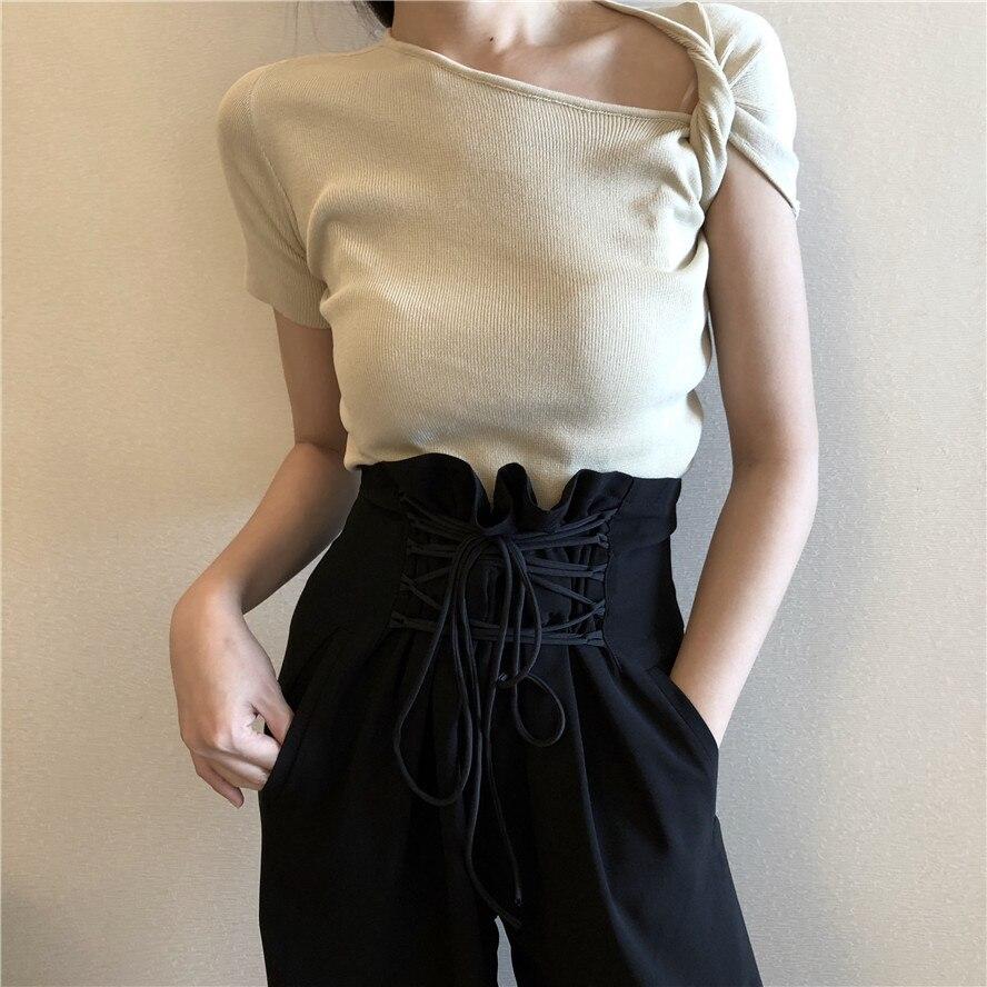 2 colores 2018 primavera y verano color sólido manga corta slim knitted Camisetas Mujer camiseta mujer (B1752)