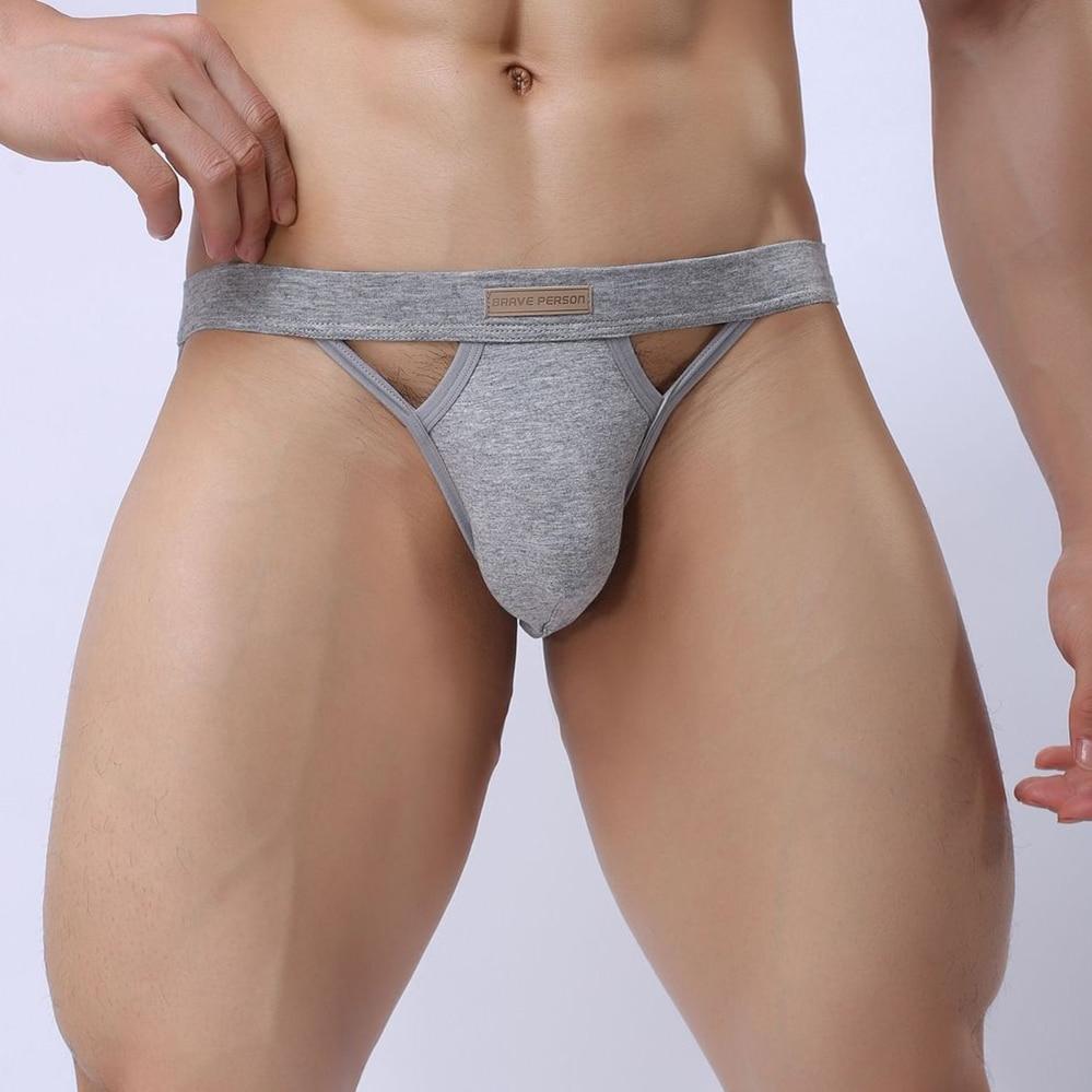 Brave Person Brand Sexy Gay Men's See-through G Strings Thongs Hole Underwear Men Comfortable Briefs Underpants Panties Men