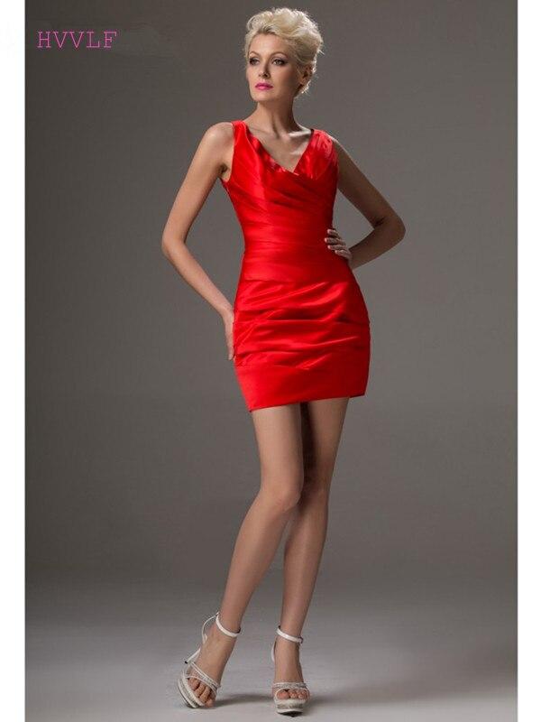 فستان كوكتيل أحمر أنيق ، غمد ، ياقة على شكل v ، قصير ، رسن ، مثير ، مقاس كبير ، فساتين حفلات