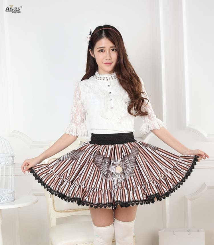 2018 Printed Steampunk Flying Gear Lolita Lace Dress Skirts Womens Japanese Style Pleated Girls Cute Half Skirts Cosplay Party