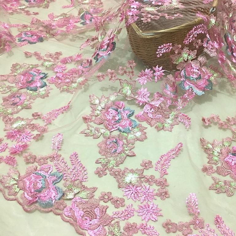 LASUI 3 yardas 2019 X0529 DIY falda accesorios de vestido de novia rosa púrpura naranja suave tela de encaje bordado de malla