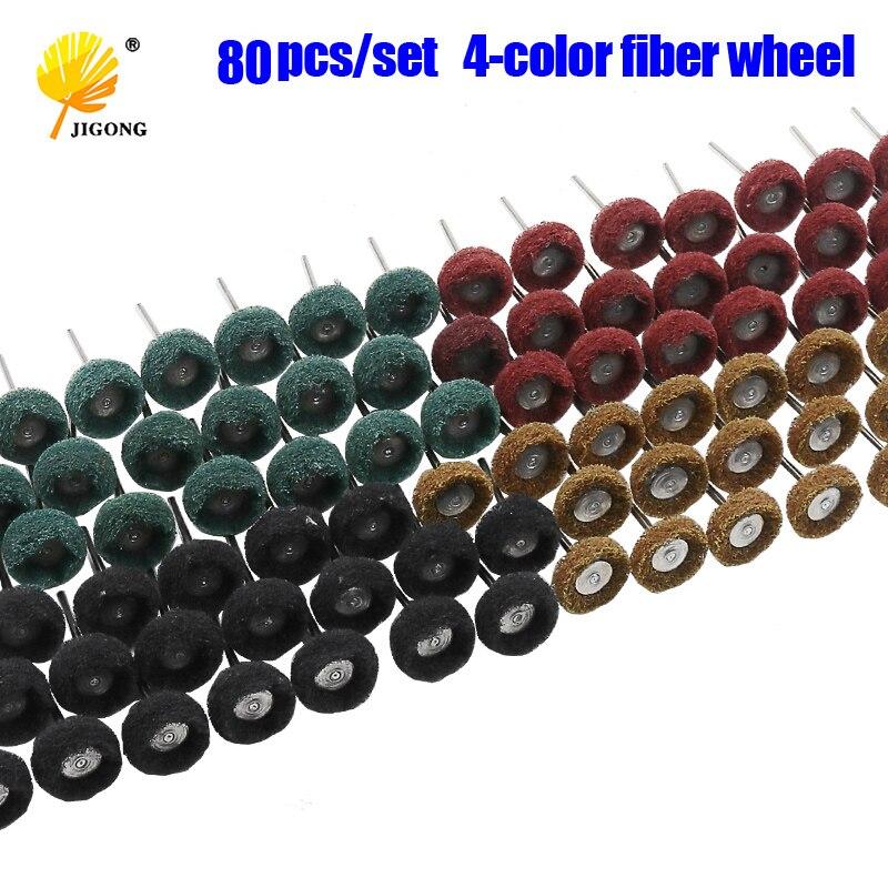 "80 unids/set Mini cepillo almohadilla de fregado rueda abrasiva de fibra de Nylon cabeza de lijado pulido rueda de pulido 1 ""25mm Set para dremel"