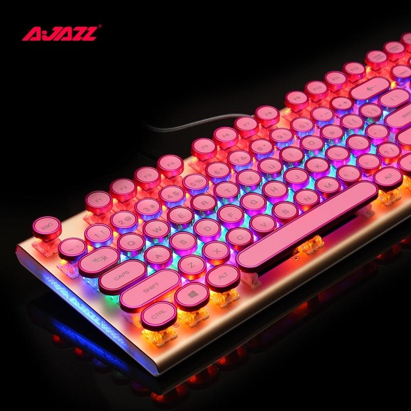 Ajazz AK40 retro Steampunk máquina de escribir USB con cable ergonómico monocromo/RGB retroiluminado Teclado mecánico para jugar n-key Rollover