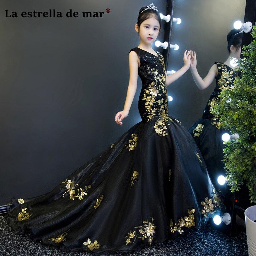 Vestidos de comunion 2020 V neck black gold glitter sexy mermaid flower girl dress long beautiful girl's ball gown custom made
