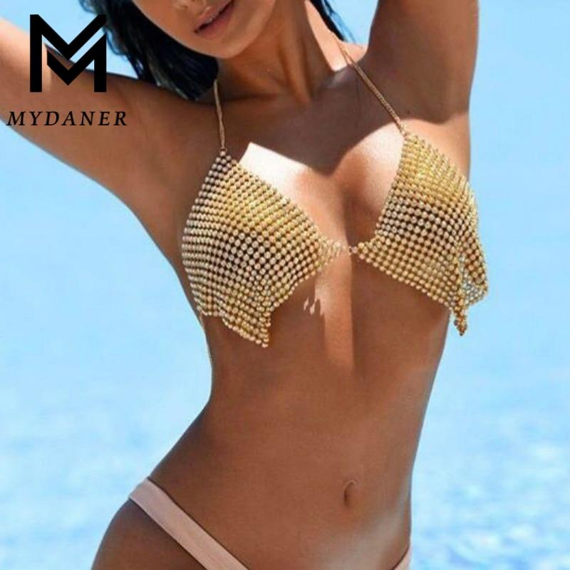 MYDANER модное сексуальное пляжное бикини с блестками, грудь, цепь, Холтер, стразы, летний женский бюстгальтер, цепочка, ожерелье, ювелирные изд...