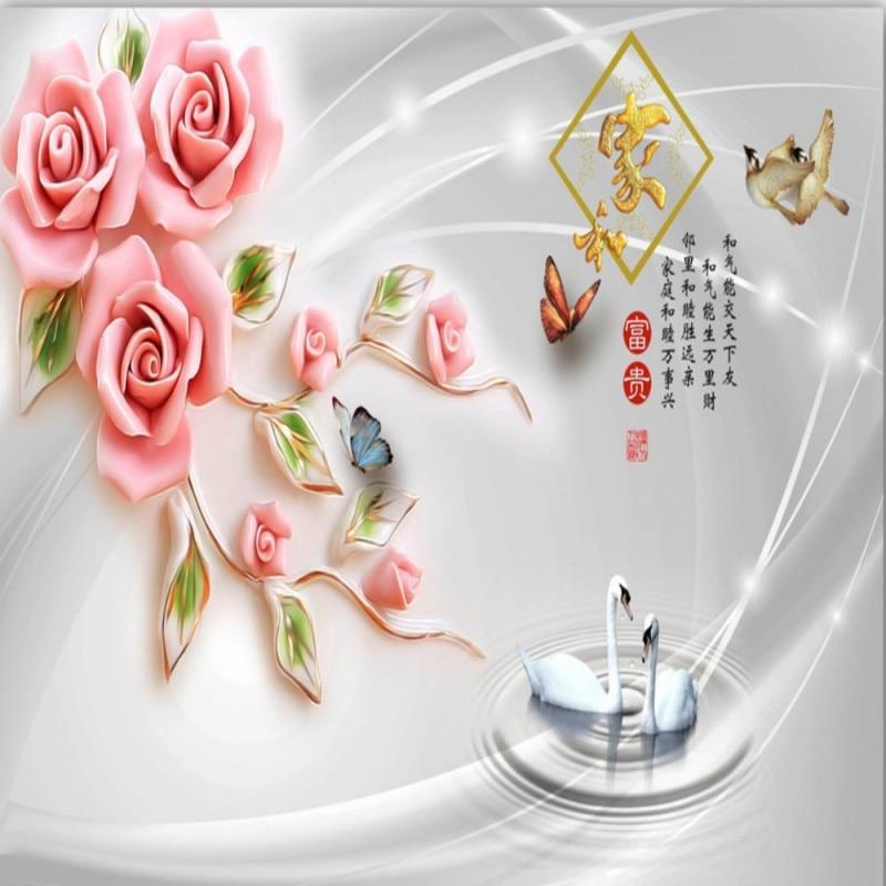 Dropshipping Colomac empapelado en relieve Jade tallado Rosa 3D flor papel tapiz 3d Foto Mural sala de estar Tapeta 3d Do Sypialni