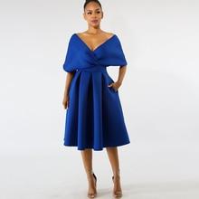 Dower Me Elegant Pleated Women Dress Off Shoulder V Neck A-line White Vestidos Wedding Party Knee Length Midi Royal Blue Dresses