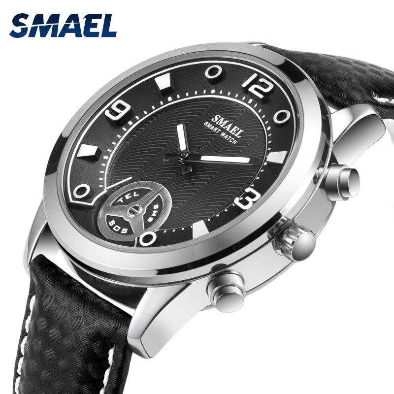 Relojes Bluetooth resistentes al agua SMAEL para hombre, reloj deportivo masculino, reloj grande inteligente SL1385 para hombres, relojes digitales militares para hombres