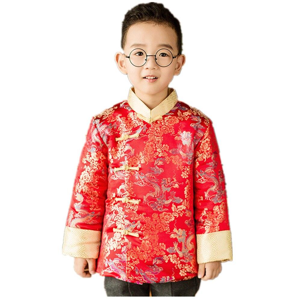 Dragão dourado bebê menino casaco acolchoado tang terno crianças china vestido roupas meninos jaqueta desempenho vermelho traje jumper