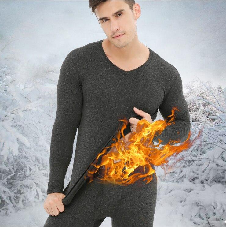 Auturmn Winter Men Thermal Underwear Sets Soft Fleece Lined Long Johns Thermal Underwear