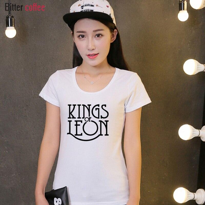 Novedad de verano, camiseta para mujer, Camisa divertida de algodón Casual con estampado de letras KINGS OF LEON para mujer, camisetas blancas y negras, camisetas Hipster